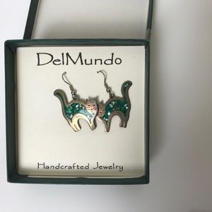 Del Mundo Hand Crafted Cat Earrings
